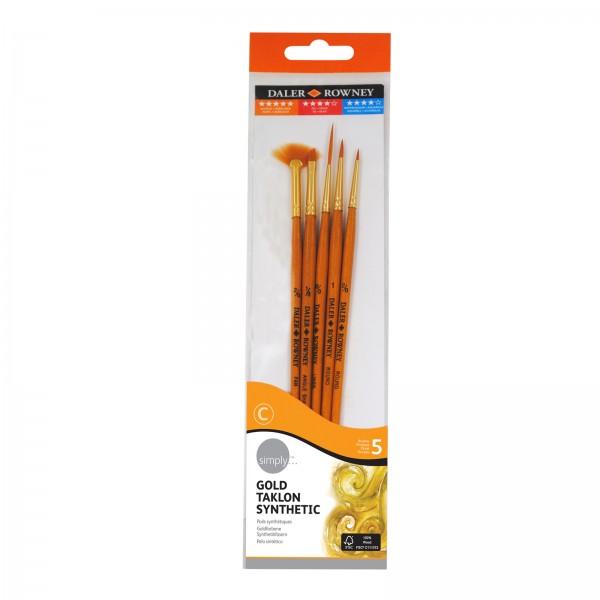Daler Rowney Pinsel - Simply - Gold Taklon SH 5 Pinselset Nr. 1 - 5 Pinsel - 20500