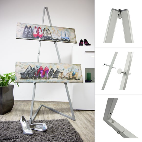 Leha Presentation Easel, light grey, collapsible - 185 cm