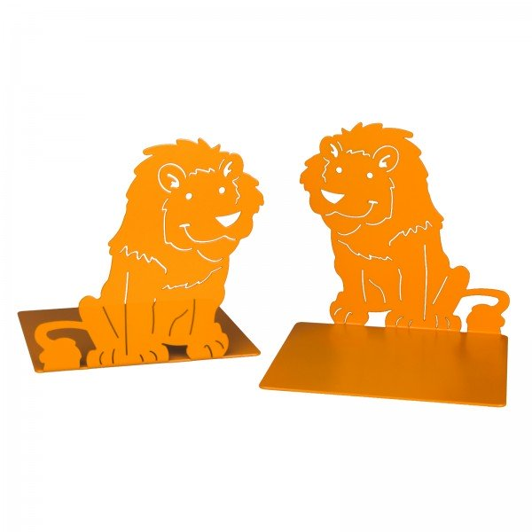 Metal Bookends Animal 'Lion', Set of 2, orange