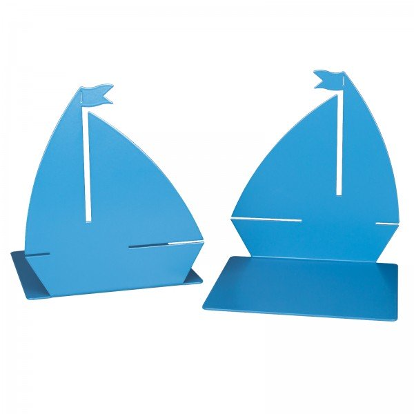Metal Bookends 'Sailboat', Set of 2, blue